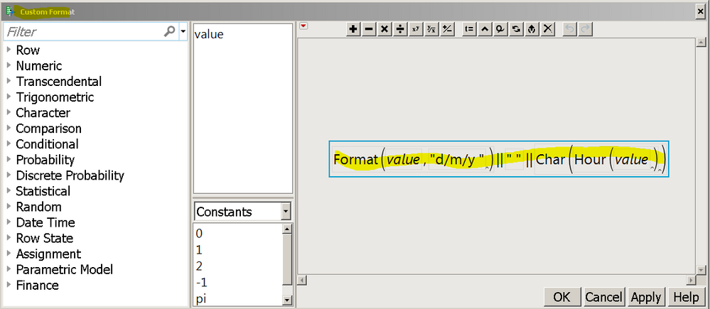 paste the JSL into the formula editor; this is the formula to format the value for display