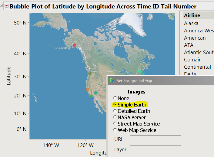 Example of SimpleEarth from the Air Traffic.JMP sample