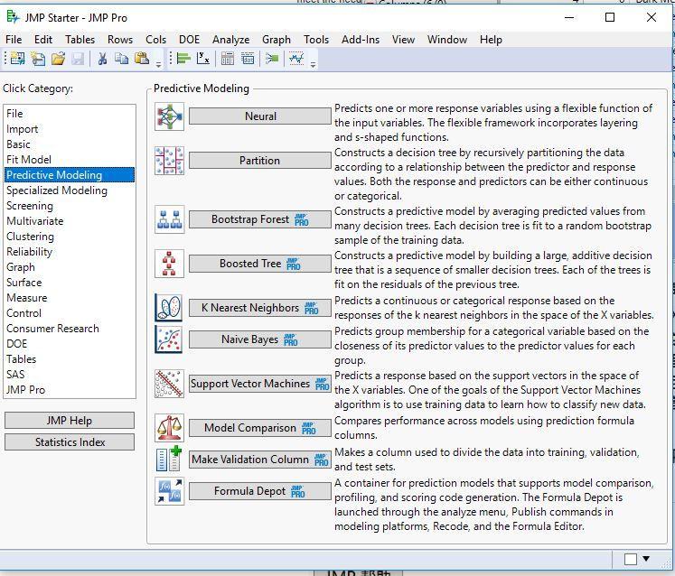 JMP Starter options for Predictive Modeling..  From JMP Pro VIEW>JMP STARTER.