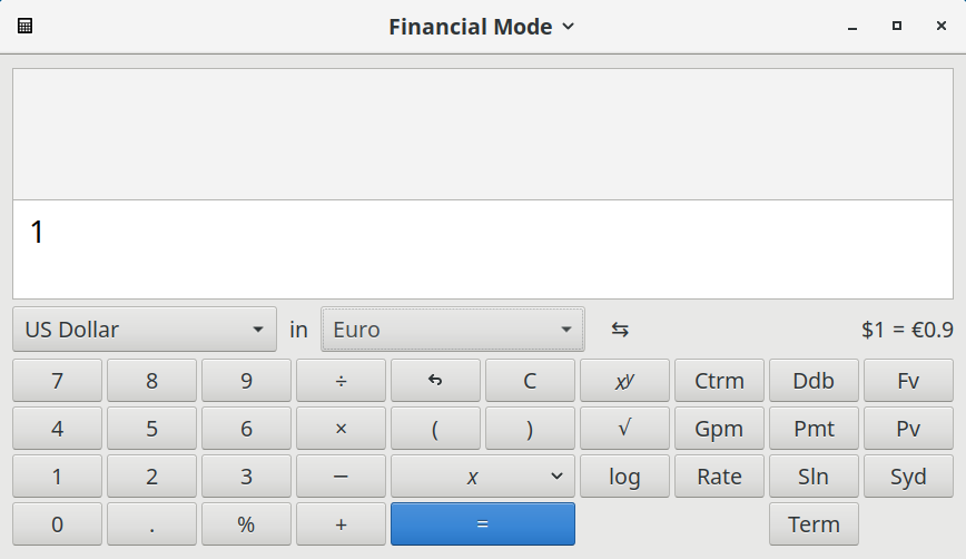 Calculator showing the currency conversion buttons