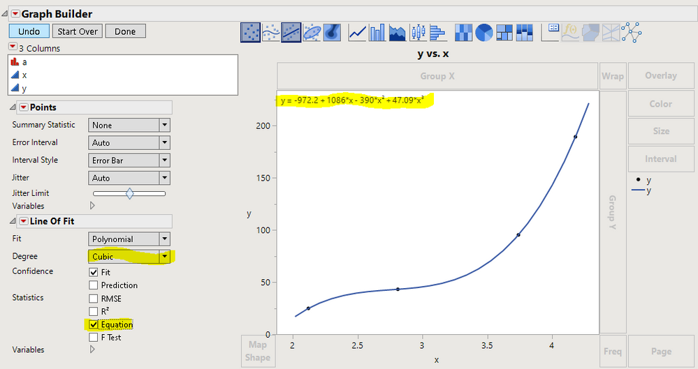 Graph Builder can do it. So can Fit Y by X.