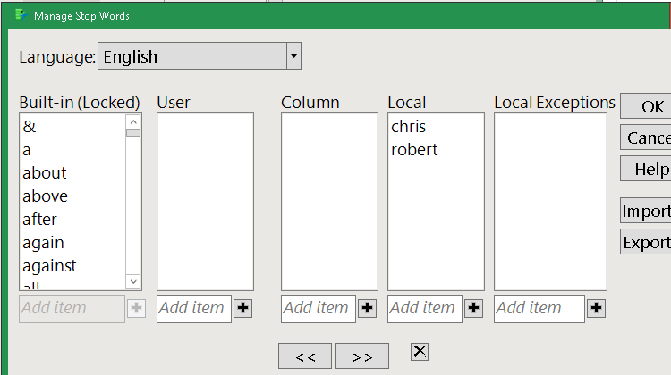 Dialog to manage stop words