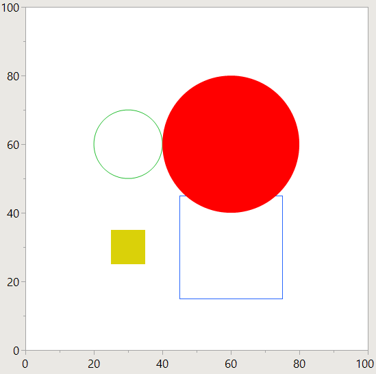two squares, two circles, two outlined, two filled
