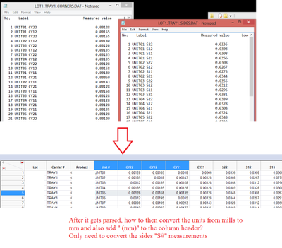 Solved Help W Parsing Ambiguous Dat File Convert Units Add