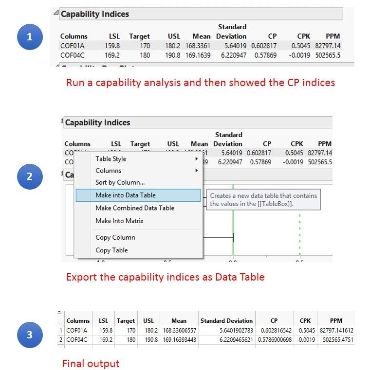 Solved: Script for exporting capability indices as data table - JMP