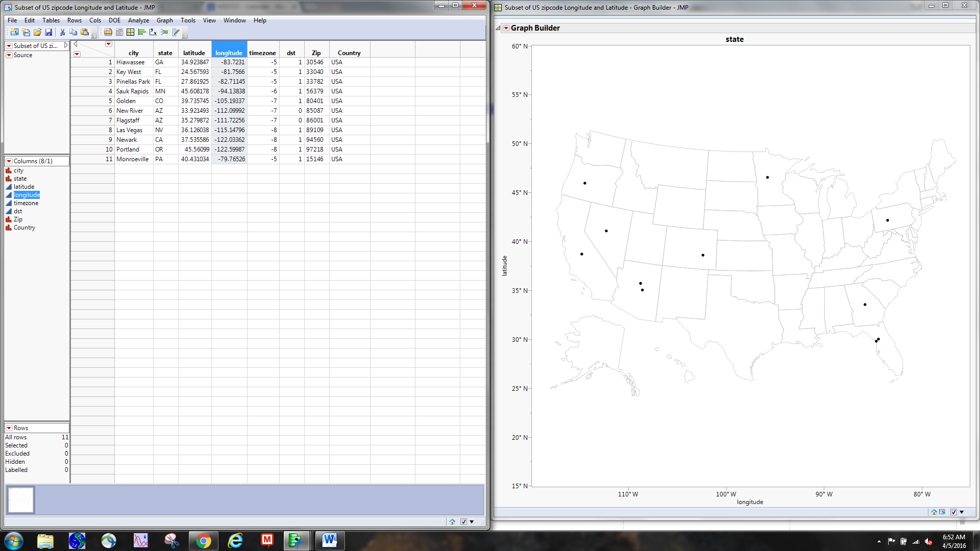 Graph Builder Map Shapes JMP User Community - Us zip codes with latitude and longitude