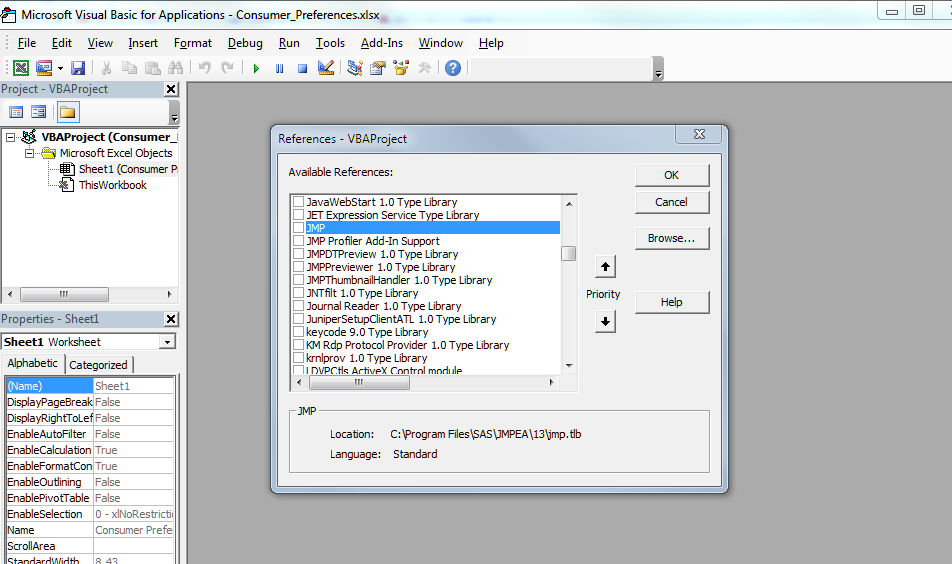 When I try to call JMP in Excell VBA, there is always an