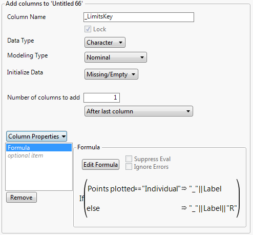 Figure 5: New Column dialog