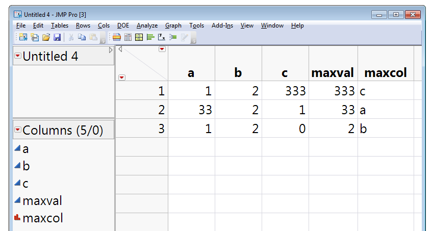 Data table with maximum value from row and name of maximum column for row