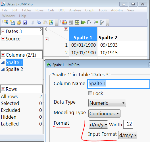 Changing Date formats in JMP Column Info with Input and output format