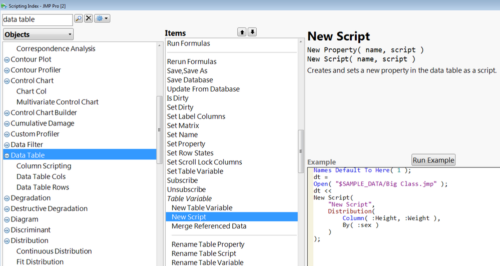 JMP scripting index, opened to the new script command for a data table