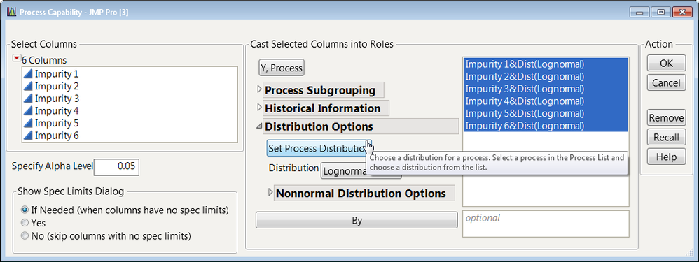 Figure 1:  Process Capability Launch Dialog