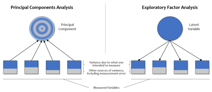Figure 4. Graphic comparison of principal components analysis and exploratory factor analysis.