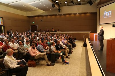 Conference attendees enjoy a plenary session at Discovery Summit 2016 at SAS world headquarters.