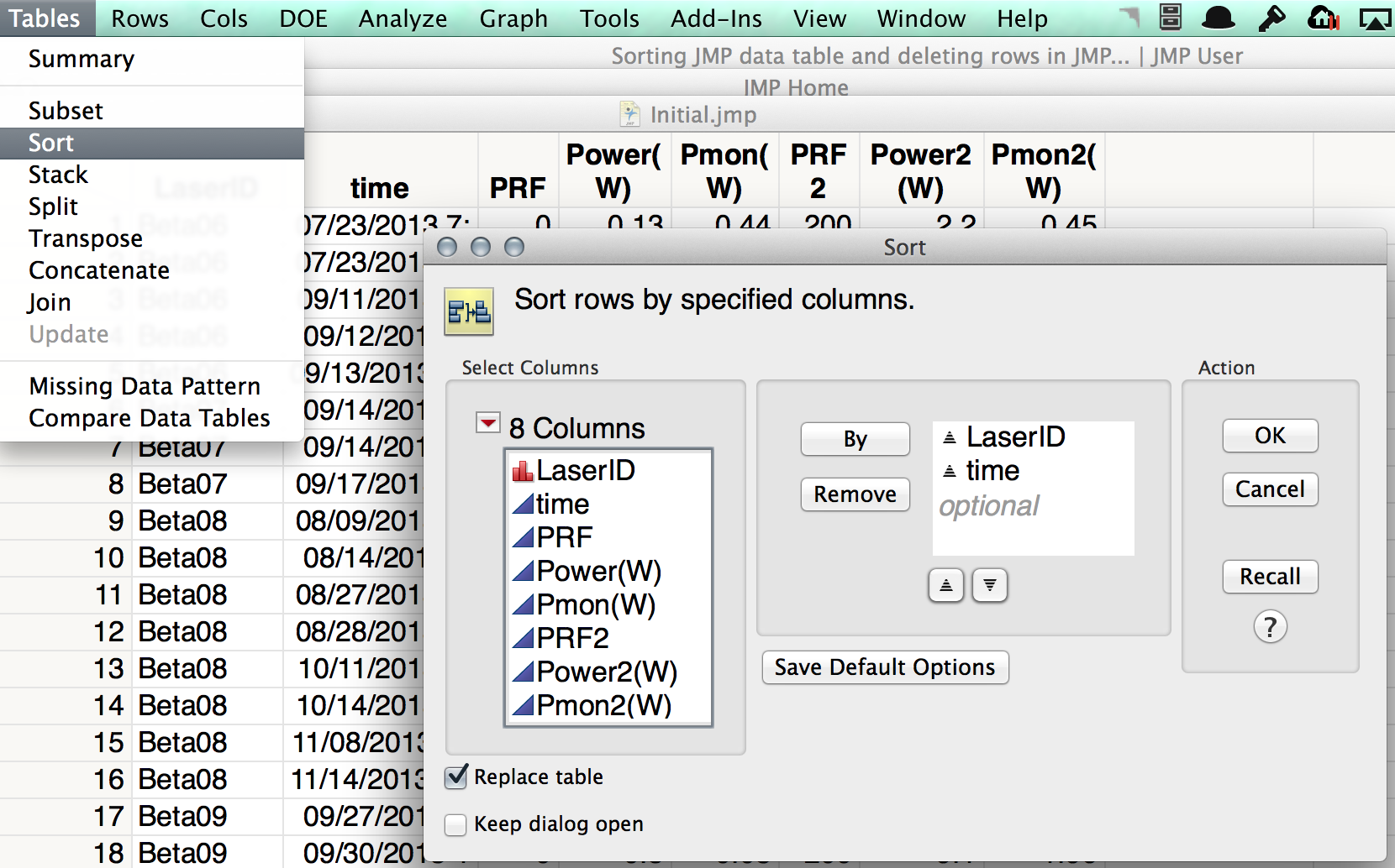 Solved: Sorting JMP data table and deleting rows in JMP