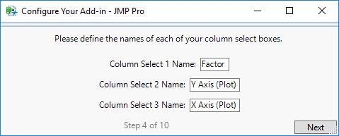 Step 4: Enter Column Select Names, if Applicable