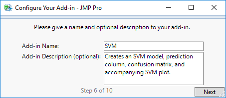 Step 6: Name and Describe Add-In