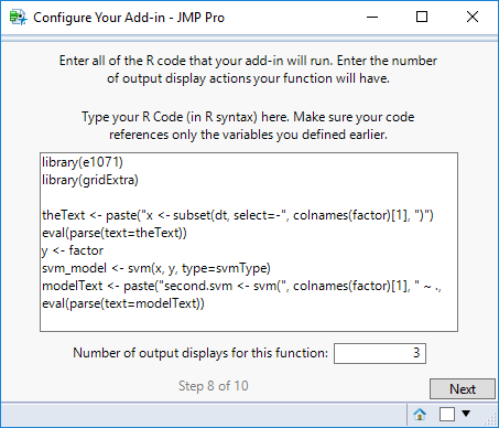 Step 8: Enter R Code and Number of Output Displays