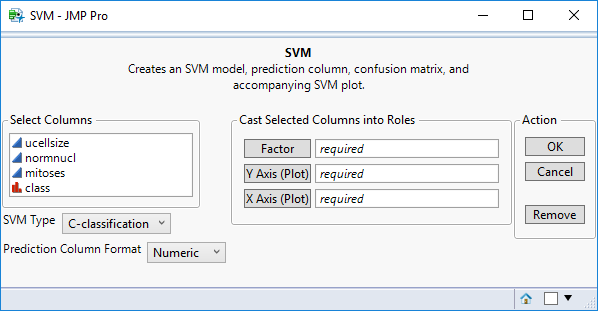 JMP to R Add-In Builder Example: SVM (Support Vector Machines)