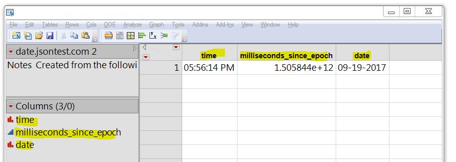 JSON data, split into columns