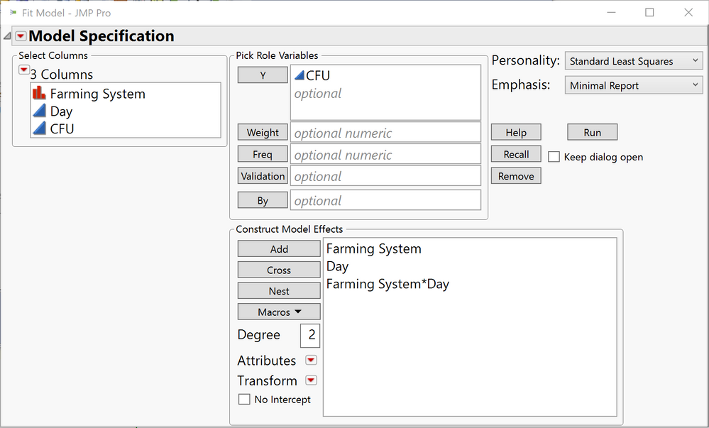 """Fit Model Dialog (I like to use """"Minimal Report"""")"""