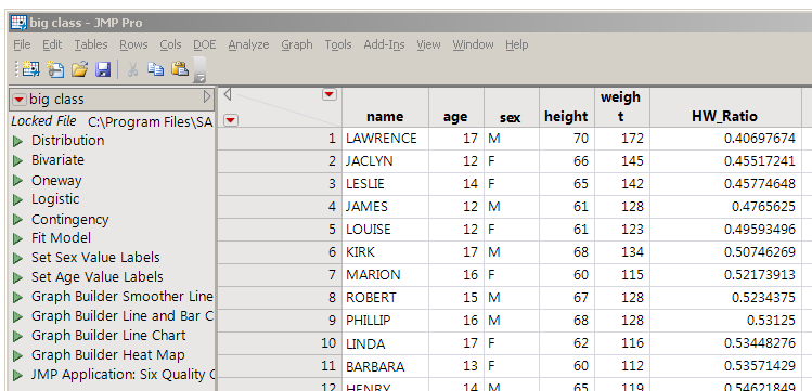 Table with formula column